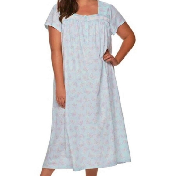 NWT Croft and Barrow Nightgown Cotton Blend White Lace Blue Flower Butterfly 2X